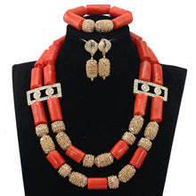 Gorgeous White Coral Beaded African Jewelry Necklace Set Gold Pendant Necklace Earrings Set for Brides