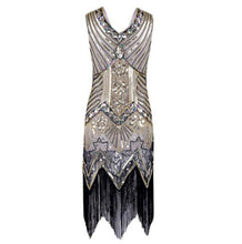 Great Gatsby Dress Women Sequins Dress V Neck tassels Beaded Party Dress 1920 s Vintage Ballroom Gold Dresses Sexy Club