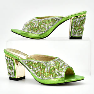 Green Color Ladies Italian Shoes and Bag Set Decorated with Rhinestone Italian Shoes with Matching Bags Party Shoes and Bag Sets