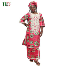 H&D 2018 New wax african fashion design african traditional bazin riche embroidery dress suit (two pcs)  HS2807