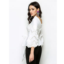 HIGH QUALITY Newest 2017 Fashion Runway Designer Tops Women's Lantern Sleeve Skew Collar Lacing Bow Striped Blouse Shirt