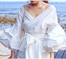 HIGH QUALITY Newest Fashion 2017 Designer Blouse Women's Lantern Sleeve Lacing Belt Bow Casual Blouse Shirt