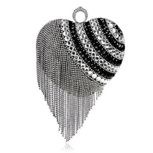 Heart Shaped Tassel Women Messenger Bags Finger Ring Diamonds Small Purse Day Clutches Handbgas For Party Dinner Wedding