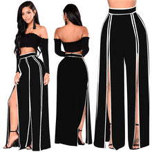 High Waist Wide Leg Pants Women Fashion Casual Palazzo Pants Summer Striped Flare Pants Loose Double Side Split Trousers Black