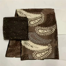 High quality silk fabric for lady dress embroidered george silk fabric African metallic silk fabric 114cm/8mm 7 yards LXE032705