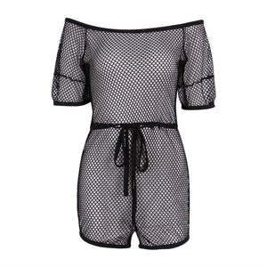 Hot Sexy Womens Summer Party Tops Beach Short Mini Dress Beachwear Bikini Mesh Cover-Up
