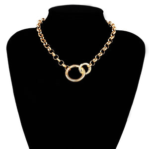 IngeSight.Z Fashion Gold Color Double Round Circle Lasso Choker Necklace Collar Statement Necklace Clavicle for Women Jewelry