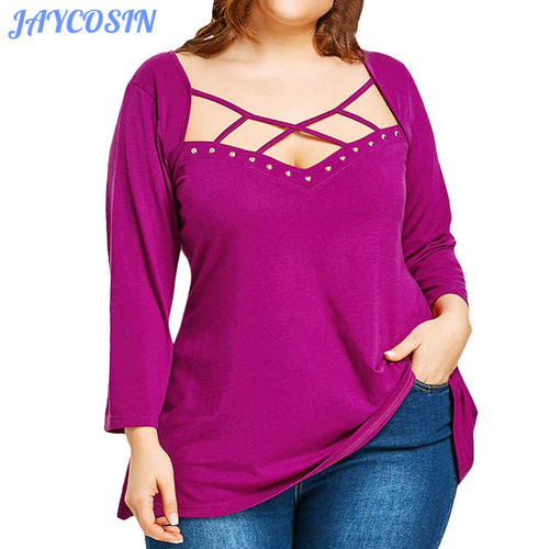 JAYCOSIN Clothes Women Autumn Plus Size Pearl Asymmetrical Pullover Mujer Fashion Long Sleeve Solid Color Loose Tops Femme 804
