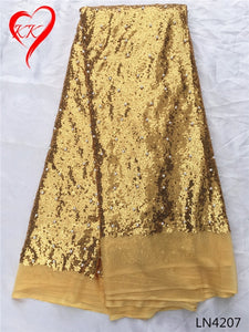 KK Full sequin fabrics high quality African french lace fabric with sequins 2017 Nigerian lace fabrics for wedding dress LN42