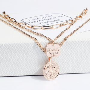 KMVEXO Queen Head Geometric Pendant Necklaces Bohemian Female 4 Layers Necklace Retro Gold Carved Coin Necklace Jewelry New 2019