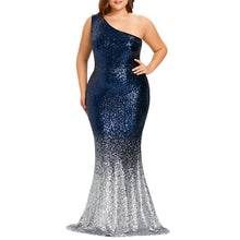 LANGSTAR Plus Size 5XL Elegant Evening Sequin Long Maxi Mermaid Party Dress Formal One Shoulder Sexy Dress Robe Vestido Femme