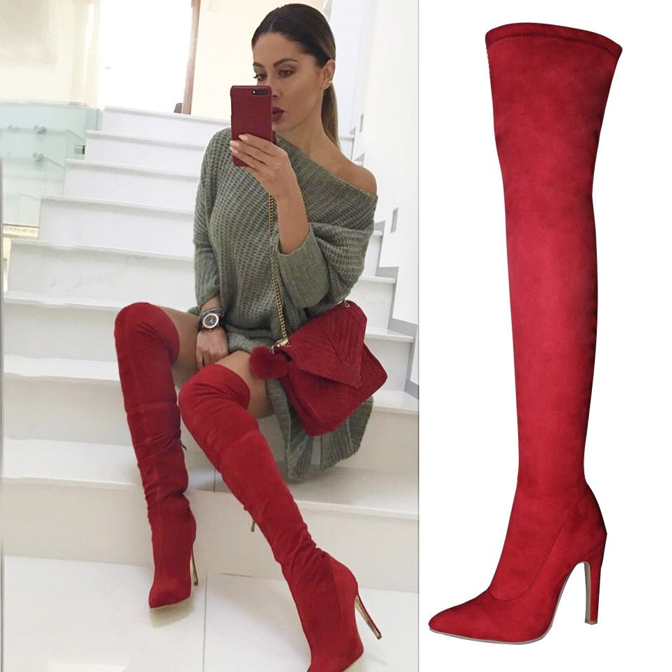Red Suede Thigh High Boots