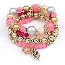 LEMOER 4pcs/set Designer Fashion Multilayer Crystal Beads Leave Tassel Bracelets & Bangles Pulseras Mujer Jewelry for Women Gift
