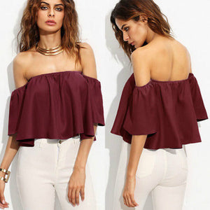 Ladies Flare sleeve Tank tops Off shoulder Blouses  Crop Top Cropped Size Size S-L