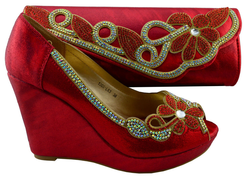 Ladies shoes and bag,african shoe and bag set italian design!1308-L63C red color Size 38-42 for free shipping!