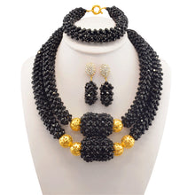 Lady Big Necklace Earrings Set Indian Bridal African Crystal Beads Jewelry Set Nigerian Beads Necklace For Weddings