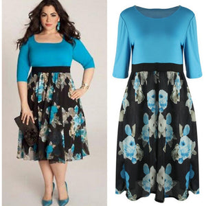 Large Size Half Sleeve Casual Summer Printed Dress Plus Size Women Clothing 2017