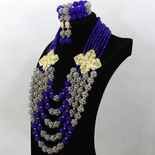 Latest Crystal Balls Women Nigerian Wedding African Beads Jewelry Sets Royal Blue Gray Bridal Jewelry Sets