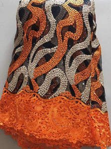 Latest French Nigerian Laces Fabrics High Quality Tulle African Laces Fabric Wedding African French Tulle Lace orange  ELL2920