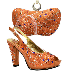 Latest Orange Color Shoe and Bag Italian Design Set Decorated with Rhinestone African Wedding Shoes and Bag Nigerian Women Shoes
