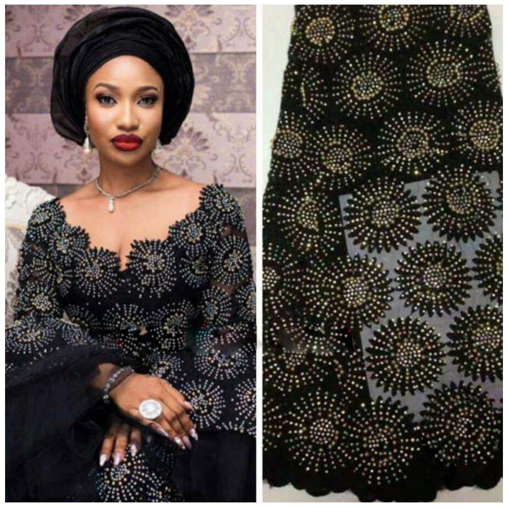 Latest african net lace fabric high quality african tulle lace with stones, Nigerian French latest african lace 2018 AMY485B-A