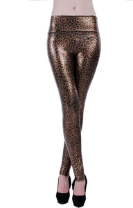 Leopard Printed Leggings Faux Leather Pants Leggings For Women's Fitness Gothic Leggins Winter Boots For Women Push Up Legging