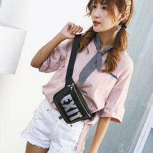 Letter Women Waist Bag PU leather Girls Chest Bag Mini Shoulder Messenger Bag Small Purse Cell Phone Pocket Bicycle Beltbag