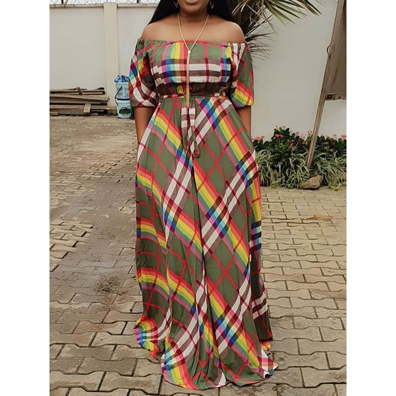 Long Dresses Women Casual Elegant Sexy Club Summer Office Lady Plus Size Chiffon Plaid Print Strapless Off Shoulder Female Dress