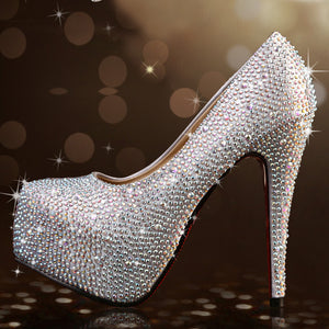 Lotus Jolly 2018 Women Pumps Silver Rhinestone Wedding Shoes Ultra high heels Woman crystal platform Party Shoes
