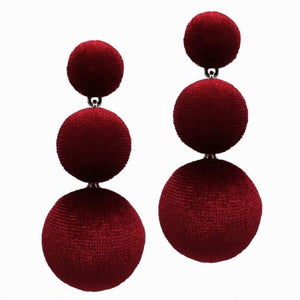 MANILAI 3 Colors Flannelette Balls Statement Earrings Women Fashion Jewelry Long Dangle Drop Earrings Bohemian Eardrop Brincos