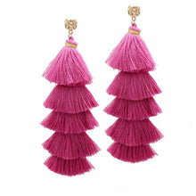 MANILAI 5 Colors Bohemian 5 Layered Cotton Tassel Earrings Fashion Jewelry Wide Fringe Drop Dangle Long Earrings For Women 2018