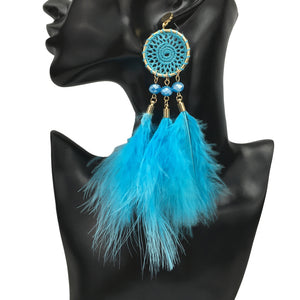MANILAI 5 Colors Bohemian Long Feather Earrings For Women Party Jewelry Fashion Crystal Feather Dangle Drop Statement Earrings