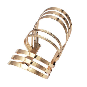 MANILAI Alloy Hollow out Stripe Big Bracelet For Women Statement Femme Metal Cuff Bangle Accessories Jewelry