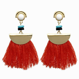 MANILAI Bohemian Geometric Fringe Earrings Fashion Women Statement Tassel Dangle Drop Earrings Ethnic Jewelry Gold Color Alloy