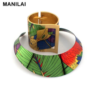 MANILAI Trendy Country Style Multicolor Painting Torques Cuff Bracelet Bangles Necklace Sets Women Indian Statement Jewelry