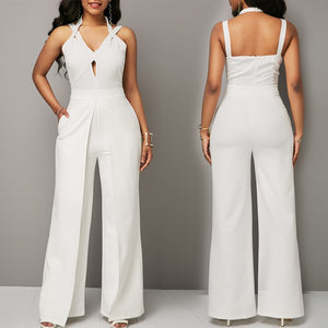 MUXU white jumpsuit combinaison pantalon femme elegante v neck wide leg jumpsuit backless bodysuit bodies woman sexy overall