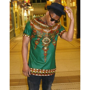 Male Dashiki Vintage T shirts 2017 Bohemia Retro Tops Men African Print T-shirt Ethnic Traditional Tees Plus Size