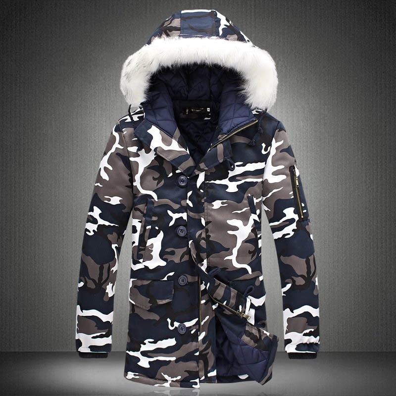Men Camouflage Hooded Coats Camo Casual Parkas Outerwear Faux Fur Collar Warm Jacket H9