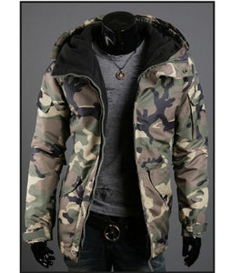 Men's Casual Camouflage Hooded Windproof Jacket Coat