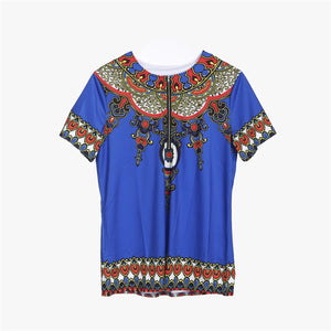 Mens African Clothing Dashiki Style Short Sleeve T Shirt Printing Tops Mexican Hippie Tribal T Shirts Tee Zipper