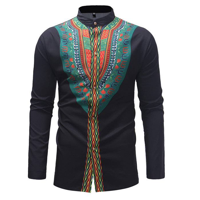 Mens African Dashiki Dress Shirts 2018 Brand New Long Sleeve Shirt Men Casual Tribal Ethnic Print African Clothing Camisa Hombre