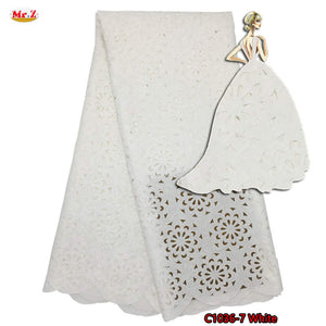 Latest Laser Cutting Nigerian Lace Embroidered Fabric Jacquard Lace Fabric For Dress 2017 Guipure Swiss Dry Lace Material