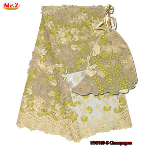 Latest Tulle Lace Fabric 2018 India Lace Fabric For Evening Dress Nigerian Yellow French Mesh Lace Embroidery Fabric