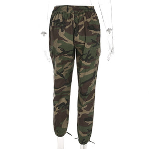 NCLAGEN 2018 New Women Fashion Camouflage Print Trousers Regular Fit 100% Cotton Cargo Pants Spring Autumn Zipper Casual Pant