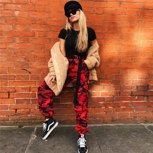 NCLAGEN Women Autumn Fashion Camouflage Trousers Loose Harem Pants High Quality Sweatpants Casual Red Camo Sweat Pant