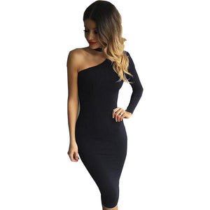 Nadafair Red Black White 2016 Autumn Dresses One Shoulder Halter Long Sleeve Women Pencil Dress Sexy Club Bodycon Party Dresses