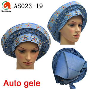 New Arrival African Already Made Aso oke Headtie Auto-Gele Caps For Wedding And Party DHL Free Shipping AS023