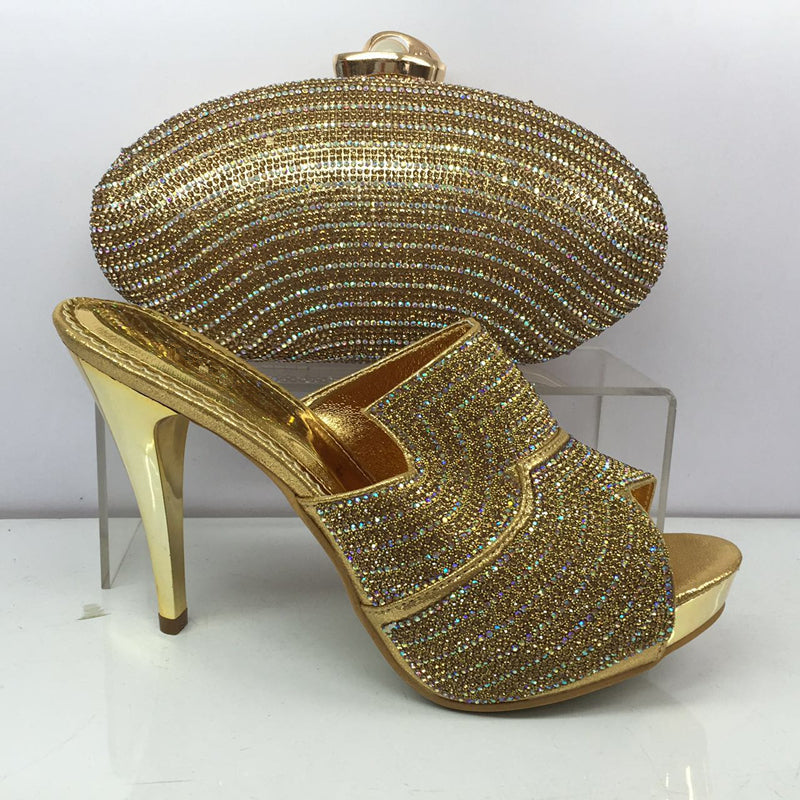 New Arrival Italian Shoes with Matching Bags High Quality African Wedding Shoes and Bag Set Decorated with Rhinestone Italy Shoe