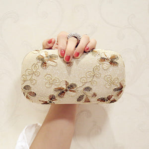 New Arrival Sequined Women Evening Bag Finger Ring Diamonds Leaf Handmade Style Small Day Clutch Evening Bag For Wedding