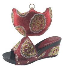 New Arrival Wine African Shoes and Matching Bags Italian High Quality Shoes Italian Shoes and Bags To Match Shoes with Bag Set